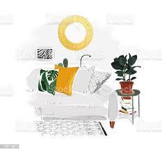 wohnzimmer mit sofa tisch büchern spiegel und pflanze stock vektor und mehr bilder aquarell