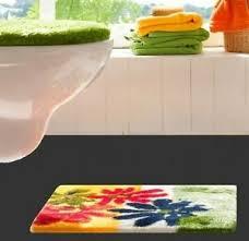 2tlg bad garnitur für stand wc oder hänge wc grün gelb rot
