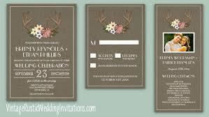Country Burlap Deer Antler Wedding Invitations