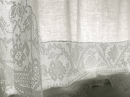 Sheer Curtain Fabric Crossword by Beautiful Old French Linen And Filet Crochet Curtain Love It