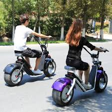 1200W Fat Tire Adults Citycoco Electric Scooter With Two Seat 60V 12ah Battery