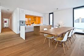 Terrific Architecture Kitchen And Dining Room Modern House With Oak Wooden Flooring Tile White Cabinet Door