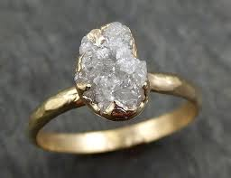 Raw Diamond Engagement Ring Rough Uncut Diamond Solitaire Recycled