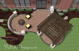 12x12 Paver Patio Designs by Large Backyard Patio Design With Pergola Built In Fire Pit And