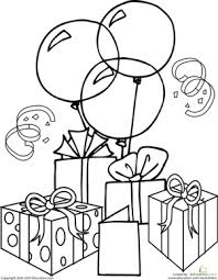 Happy Birthday Coloring Pages With Balloons For Kids