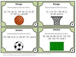 mode median and range median mode range task cards 5th 6th grade math review