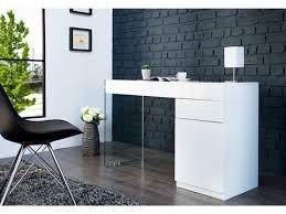 bureaux blanc laqué design blanc laqué et verre dublin 120 cm