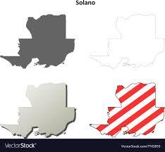 Solano County California Outline Map Set Vector Image