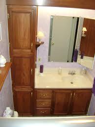Teak Bathroom Shelving Unit by Bathroom Linen Cabinets Door Panels On This Builtin Bathroom
