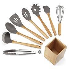 set ustensiles de cuisine nexgadget lot ustensiles de cuisine en silicone et bambou 9 pièces