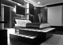 Apartment Black Theme Bedroom Ideas For Men Dark Wooden Laminate Bedframe With Storage Spaces