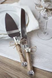 Rustic Wedding Cake Cutter Server Set Pearl Flower