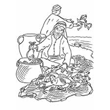 Coloring Sheet Of Fishermen Sorting Fish