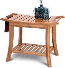 costway badhocker bambus sitzbank bad sitzhocker badezimmerhocker ablage hocker 61 x 33 x 46 cm