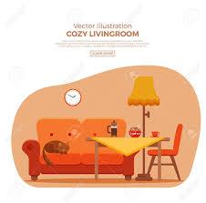 wohnzimmer gemütlich bunte comic interieur vector flach illustration mit elementen stuhl sofa katze le uhr tisch katze kaffee