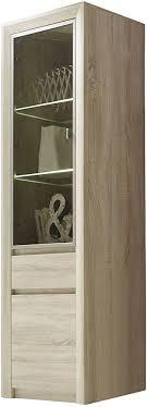 trendteam wohnzimmer vitrine schrank wohnzimmerschrank sevilla 64 x 200 x 38 cm in eiche sägerau hell dekor mit led beleuchtung in warm weiß und