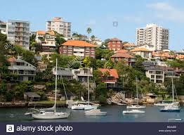 100 Mosman Houses And Sailing Boats In Bay Sydney NSW Australia Stock