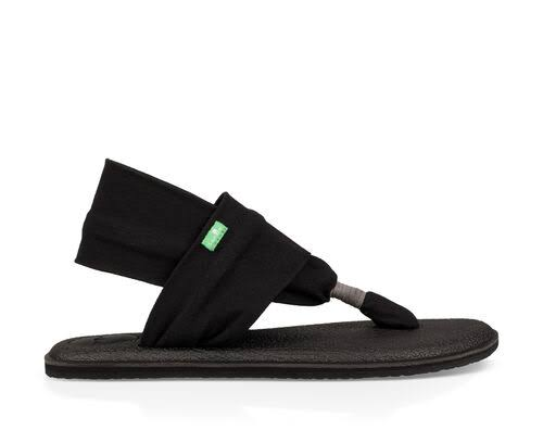Sanuk Women's Yoga Sling 2 Flip Flop - Black, 6 US