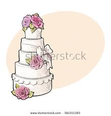 Traditional white tiered wedding cake decorated with pink marzipan roses sketch style illustration on background