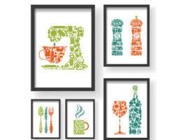Orange Teal Green 5 Set Kitchen Icons Unique Decor