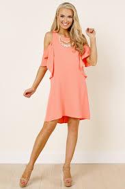 pretty coral dress open shoulder dress 49 00
