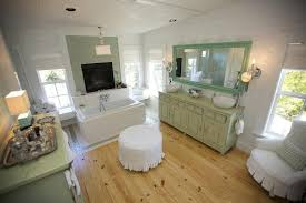 Shabby Chic White Bathroom Vanity modern shabby chic bathroom frameless glass rectangle wall mirror