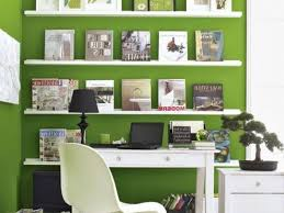 Office 3 Home Decor Interesting To Bring Spring Your With Green Theme White Work Desk And Chair Bookcase