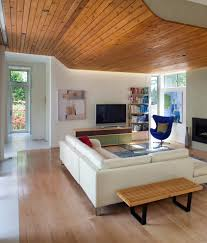 100 Contemporary Ceilings WoodceilingplanksLivingRoomwithArne