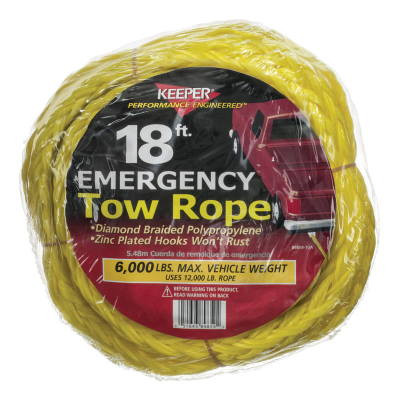 Keeper 89859 Tow Rope - Yellow, 18'