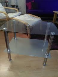 beistelltisch kl tisch glas chrom