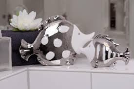 casablanca set fisch fin atlantik weiß silber porzellan bad deko figur skulptur 76748 2 x groß