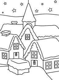 Coloring Pages Winter Simple House Of For Kids