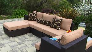 Outdoor And Patio: Sectional Wicker Sofa With Chaise And Brown ... Patio Ideas Home Depot Design Simple Deck Endearing Designs Pictures Cover Plans Tiles Table As Hampton Bay Lynnfield 5piece Cversation Set With Gray Concrete On Fniture With Luxury Small Ding Sets And Fresh Outdoor String Lights Show Diy Before After Of My Backyard Backyard Inexpensive Decks Porch Railing Railings Four White Chairs In Iron Framework Round Glass Over