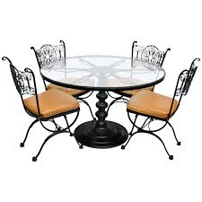 Round Dining Table Chairs Wrought Iron Patio Set For Small ...