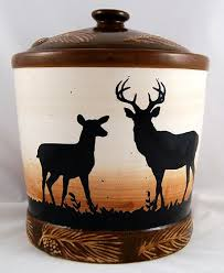 Rustic Northwoods Deer Cookie Jar Features A Buck And Doe Standing Watch In The Twilightscene On Ceramic