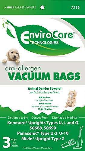 DVC Generic Kenmore Upright Allergen Cloth Vacuum Cleaner Bags - Fits Style 50688 and 50690, 3ct