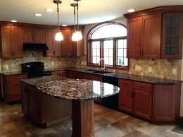Dark Granite Countertops With Light Cabinets Kitchen Circle Bar Stools Black White Marble Floor