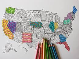 Adult Coloring Poster United States Map