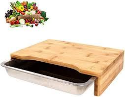 schoberg schneidebrett holz mit edelstahl auffangschale küchenbrett 47 x 32 5 x 7cm schneidunterlage mit auffangbehälter bambusbrett für veganes