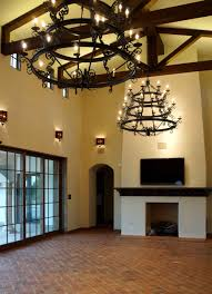 Fetching Design Of Wrought Iron Chandeliers In Black Color To Decorate Spacious Room