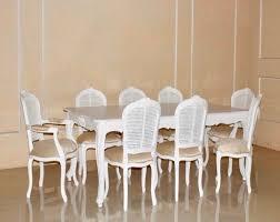 barock esszimmer garnitur profincial antik weiß mit rattan 1 tisch mit 8 stühlen