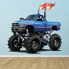 Blue Monster Truck Wall Sticker Cool Vehicle Wall Decal Boys Bedroom ...
