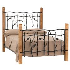 Wrought Iron King Headboard by Brown Wooden Based Bed Frame With Leaves Twig Wrought Iron
