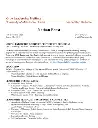 Kirby Leadership Institute University Of Minnesota Duluth Resume Nathan Ernst 1826 E Superior Street