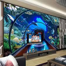 beibehang custom 3d tapete unterwasser welt aquarium 3d stereo wandmalereien tv hintergrund wohnzimmer wand dekoration