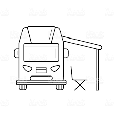RV Camping Motorhome Line Icon Royalty Free Rv Stock Vector Art
