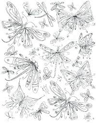Coloring Dragonfly Page Butterflies Dragonflies Embroidery Pattern Inspiration Simple Pages Bookmarks