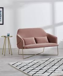 stanley 2 sitzer sofa samt in vintage rosa