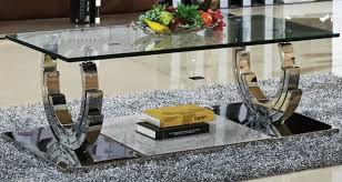 azurit couchtisch edelstahl wohnzimmertisch glas hochglanz tisch 130x70x42 cm