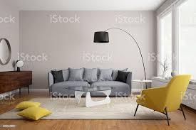 moderne skandinavische wohnzimmer mit grauem sofa stockfoto und mehr bilder architektur